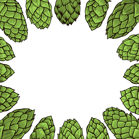 background of Hop hand drawn in artistic engraved style. Colored vector illustration