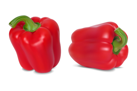 Set of Red sweet pepper. Isolated on white