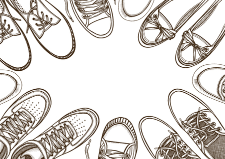Background of many sports shoes lined up in a circle with free space for text, Hand-drawn vector illustration on a white background, in a sketch style. top view