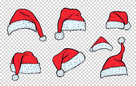 Set Christmas hats Santa Claus. Hand drawn illustration, isolated.