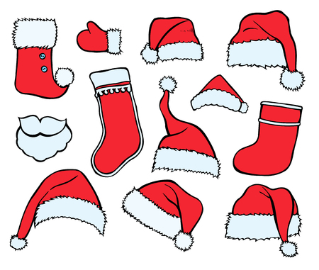 Colorful patch badges of different Merry Christmas attributes. Set of Happy New Year stickers, pins, magnets in cartoon comic style. Santa Claus Mittens, caps sock Illustration