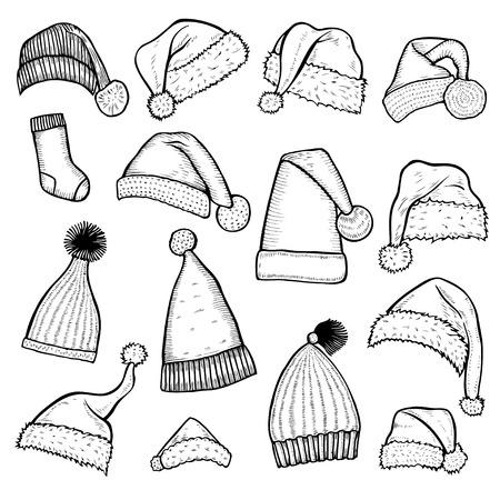 Père Noël chapeau barbe, illustration de la chaussette, dessin, gravure, encre, dessin au trait, illustration vectorielle. Banque d'images - 94026371