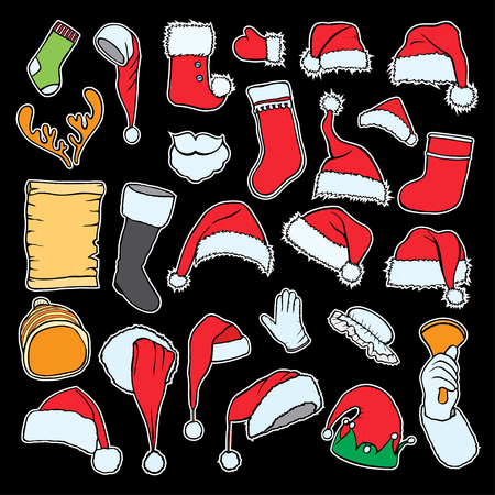 Merry Christmas set. Fashion patch badges collection. Vector winter holiday hand draw set on a background. Pins, stickers, patches in doddle style. Trend. Vector illustration isolated. Vector clip art. Illustration