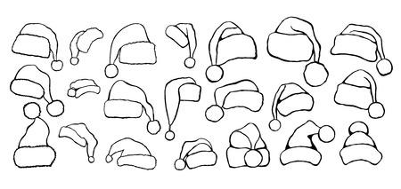 Illustration de chapeau de père Noël, dessin, gravure, encre, dessin au trait, illustration vectorielle. Banque d'images - 94026377