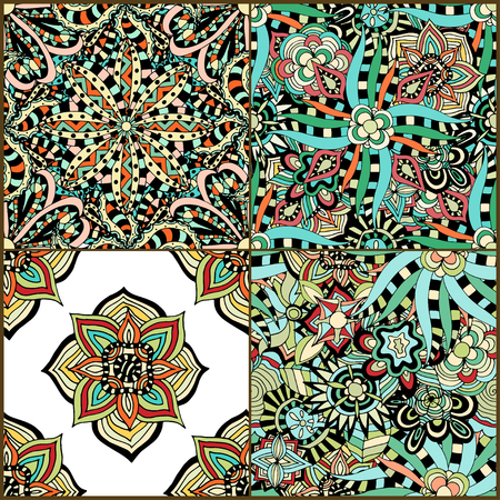 Luxury oriental tile seamless pattern. Colorful floral patchwork background. Mandala boho chic style. Rich flower ornament. Hexagon design elements. Portuguese, Moroccan motif. Vector illustration.