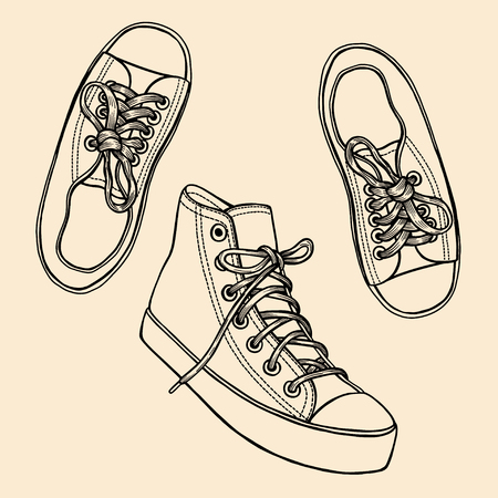 Set of Fashion illustration with monochrome sneakers and ink spots. Hand drawn vector illustration