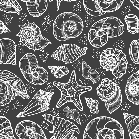 Seamless pattern tile wallpaper of Hand drawn Collection of seashells in line art style on blue background. Ocean seamless vector pattern. Coloring book page design for adults and kids. Vettoriali