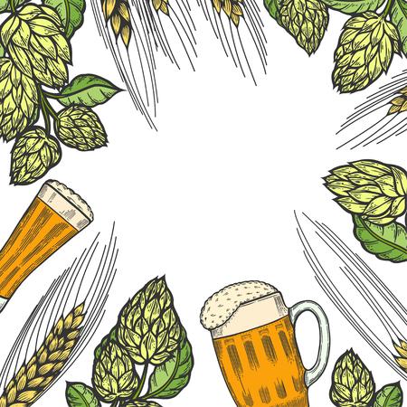 Colorful beer menu design template. Engraved illustration with barley, hops and beer glasses. Brewery frame concept hand drawn vector illustration for beer restaurant.