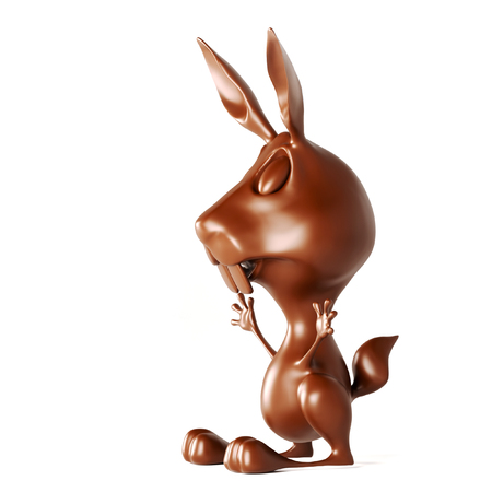 Chocolate rabbit isolated on white background. Easter object template. 3d render illustration. Stock Photo