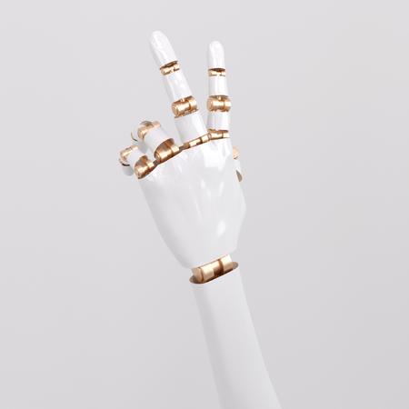 3D rendering concept of a robotic mechanical arm. thumbs up symbol of victory, Isolated on white background