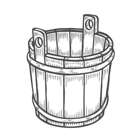 Woodcut of an old wooden bucket. Engraving vector illustration isolated on white 일러스트