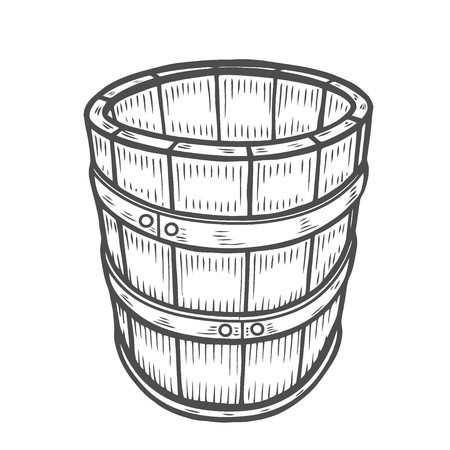 Wine or beer barrel isolated on white background. Vector illustration. 일러스트