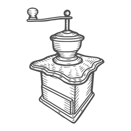 Coffee mill. Vintage black vector engraving illustration for label, web. Isolated on white background. Hand drawn sketch style.