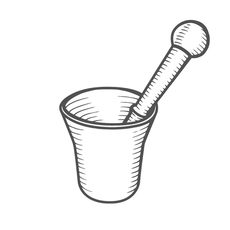 Mortar and Pestle. Hand-drawn Engraving vintage vector illustration.isolated on white background design element for label and poster Иллюстрация