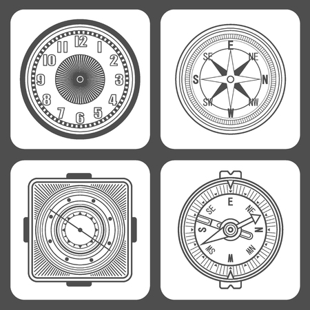 Set of Classic design mechanical wristwatch isolated on white background. Clock face with hour, minute and second hands. Vector illustration. Stock Illustratie