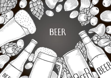 Hand drawn beer set on chalkboard, vector background with empty space for text.