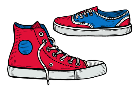 Set of four pairs of red sneakers drawn in a sketch style. Vector illustration.