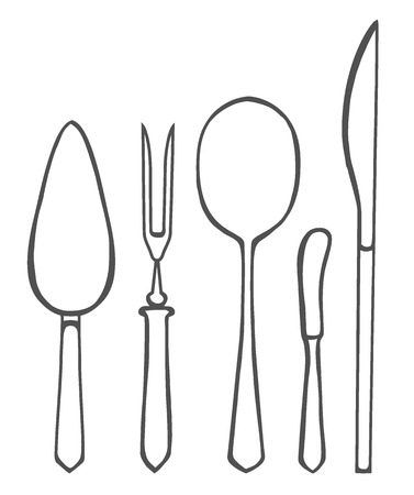Vector illustration of spoon, fork and knife Illustration