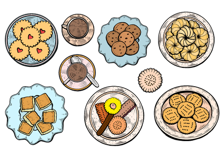 hand drawn. Oriental sweets vector illustration. Middle eastern food. Food menu background. top view. Colorful design template.
