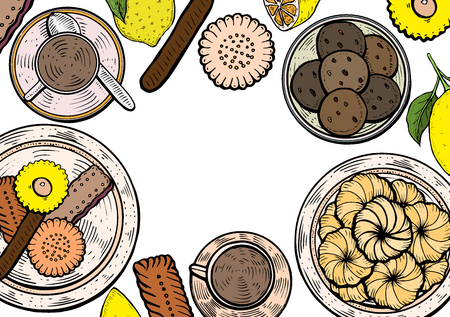 Food menu background. Middle eastern food, hand drawn. Oriental sweets vector illustration. Linear graphic. Colorful vector illustration.