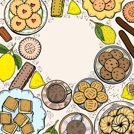 Food menu background. Hand drawn Middle eastern food. Oriental sweets vector illustration. Linear graphic. Colorful vector illustration.