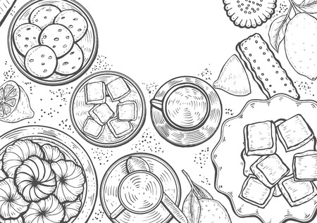 Hand drawn Food menu background. Middle eastern food. Oriental sweets vector illustration. Linear graphic. Monochrome vector illustration.
