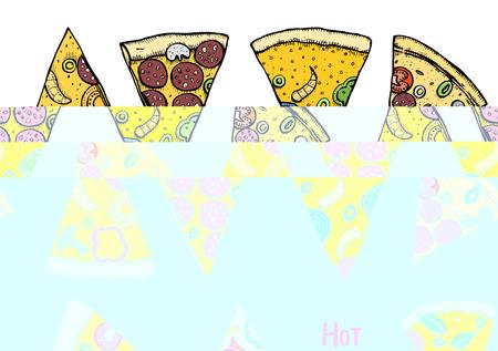 Italian Pizza hand drawn vector illustration. Pizza slices in a circle. Design template.