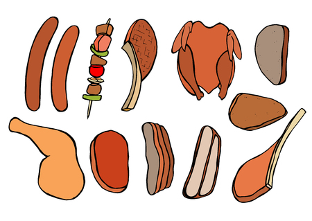 Barbecue grill Vintage color vector sketch illustration. Illustration