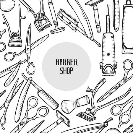 Vector barbershop vintage collection. Barber Stylist Tools set, Hand drawn hairdressers professional tools. Retro Illustration in ancient engraving style