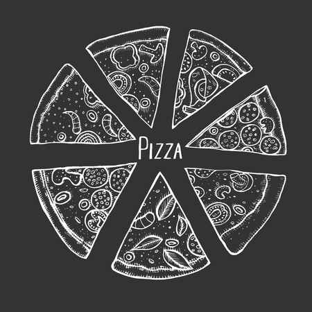 Monochrome Italian Pizza hand drawn vector illustration. Pizza slices in a circle. Packaging design template. Sketch illustration. Isolated on black  イラスト・ベクター素材