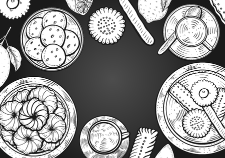 Hand drawn Food menu background. Middle eastern food. Oriental sweets vector illustration. Linear graphic. Monochrom vector illustration.