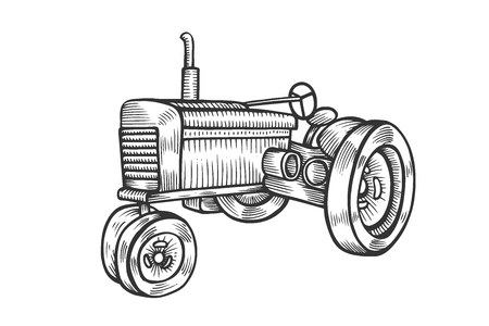 Wheeled tractor in vintage engraved style. Vector hand drawn illustration isolated on white background.