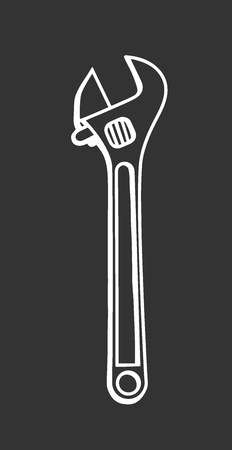 Hand drawn adjustable spanner vector sketch. Doodle drawing. Vector sketch house remodel tool. Home repair service.