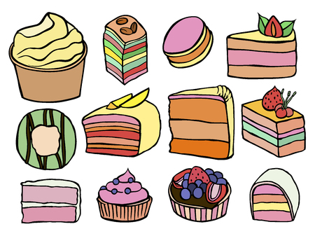 Desserts and sweets sketch color isolated on white background. Hand drawing illustration vector.
