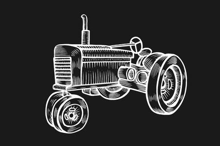 Wheeled tractor in vintage engraved style. Vector hand drawn illustration isolated on black background. Illustration