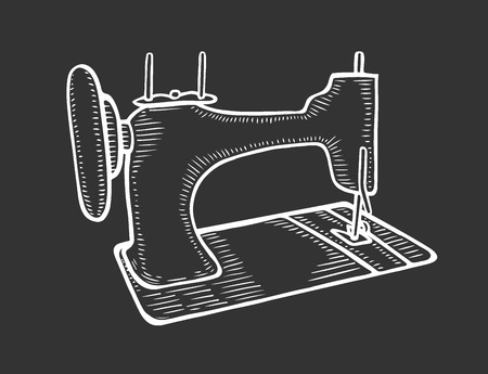 Vector hand drawn of the vintage sewing machine. isolated on black background. In old style engraving illustration