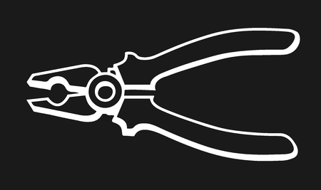 Pliers. Hand drawn in a graphic style. Vintage vector sketch illustration for info graphic, poster, web. Isolated on black background