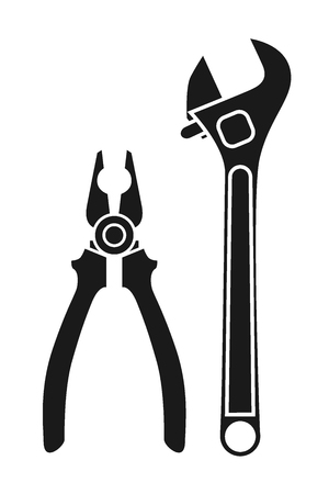 Set of black tools, pliers and adjustable wrench vector sketch. Doodle drawing. Vector sketch house remodel tool. Home repair service.