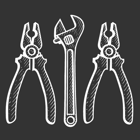 Hand drawn set of tools, pliers and adjustable wrench vector engraving. Doodle drawing. Vector sketch house remodel tool. Home repair service.
