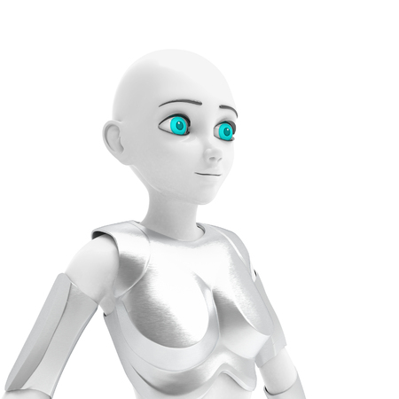 Robot in the form of a young beautiful girl with big blue eyes. 3d Render