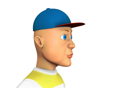 Funny Man in the baseball cap, 3d rendering cartoon illustration