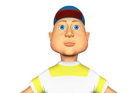 Funny Man in the baseball cap, 3d rendering cartoon illustration