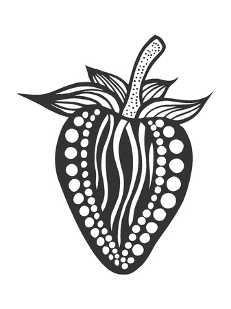 Strawberry black and white. Hand-drawn, doodle, vector. Made by trace from sketch. Coloring book page for adult. Garnet fruit. Vectores