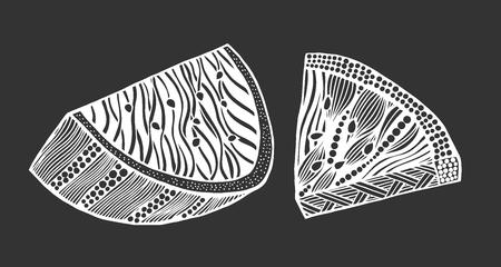 Anguria zentangle stilizzato illustrazione vettoriale matita disegnata a mano. Pizzo. Arte zen