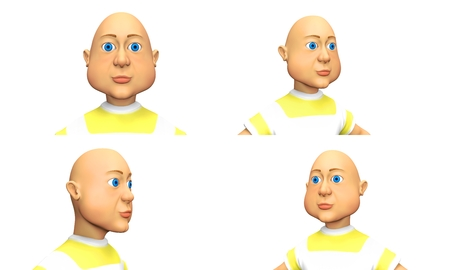 Set of Blue-eyed bald man, funny character 3d render