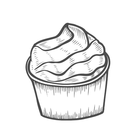 Cake Dessert and sweet isolated on white background. Hand drawing illustration vector. Ilustrace