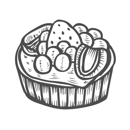 Cake Dessert and sweet isolated on white background. Hand drawing illustration vector. Illustration