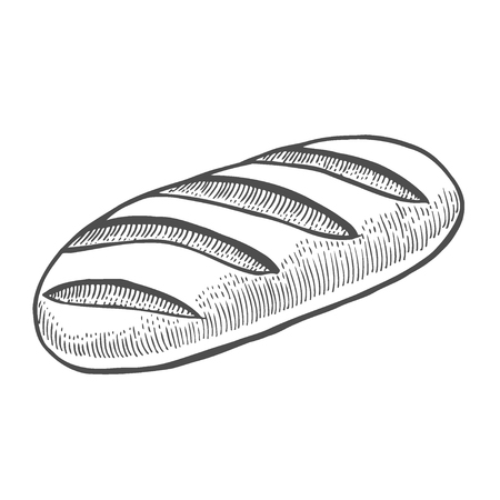 Baguette vector sketch icon isolated on background. Hand drawn illustration