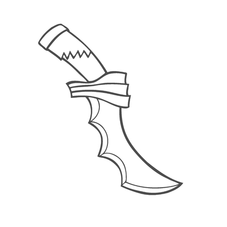 Hand-drawn vintage knife. Sketch edged weapon. Vector illustration