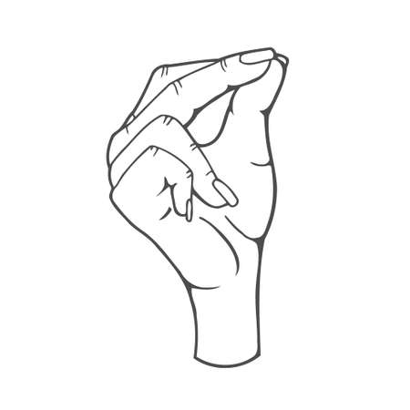 Hand ok sign illustration, drawing, engraving, ink, line art, vector